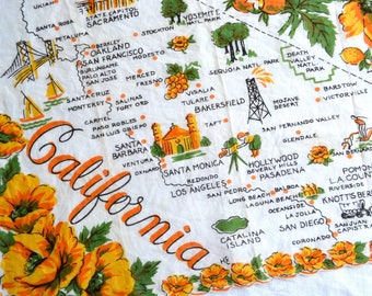 Vintage Hankie - California State Souvenir - Orange Poppy