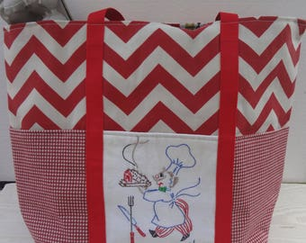 """Vintage Chef Market Bag / Chef Tote / """"Eat Hearty"""""""