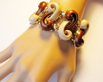 Vintage Thermoset Infinity Book Chain  Bracelet Cuff  Bangle Dark Brown Beige Super Chunky Art Deco Modern Mid Century Retro Statement