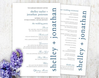 DIY Custom Wedding Program for Modern Wedding - Navy Blue Typewriter Design Customized Printable PDF