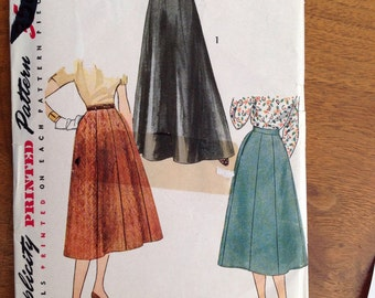 Vintage Simplicity 4374 Slightly Flared Gored Skirt, waist 26""