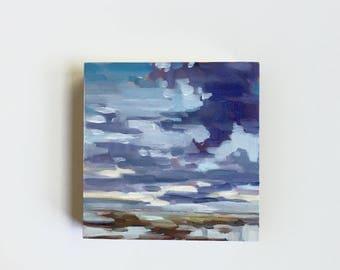 "Cloudy Marsh • original 4 x 4"" oil painting"