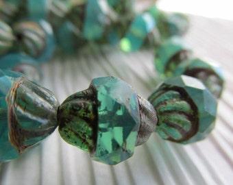 Green Opal Emerald Turbine Czech Glass Bead, 11 x 10 Turbine, Czech Glass Turbine Bead, Green Czech glass, Green Beads, Czech Glass, OPALGRN