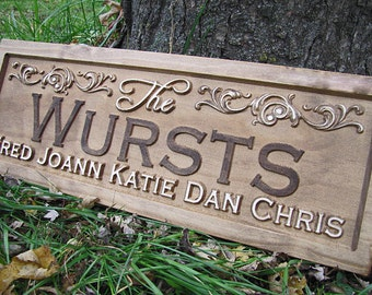 Personalized Wedding gift custom Family Name Sign flourish 3D Wood CARVED Sign Last name Established wedding couples plaque lovejoystore