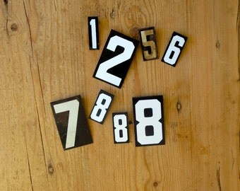 8 Vintage sign numbers Old metal numbers Black and white numbers White and black numbers Bargain numbers Lot of numbers Variety of numbers