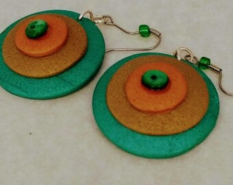 Gold,green and copper polymer clay earrings
