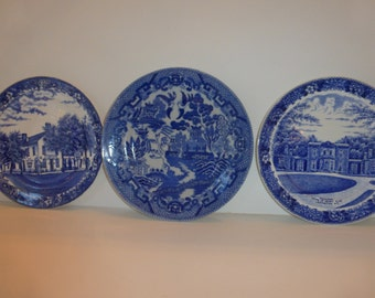 Vintage Blue and White Transferware Plates