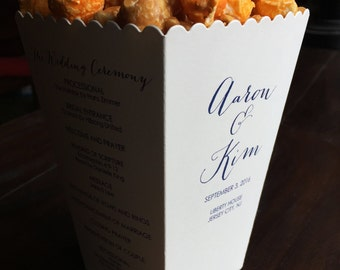 Popcorn Box Wedding Program - 4 Sides Printed - Small