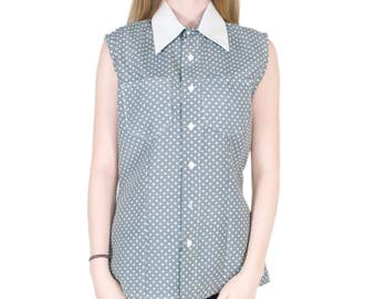 Polka Dot Blouse Button Down Shirt Gray and White Collared Shirt with Front Pockets Classic Summer Style