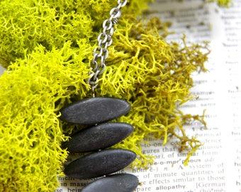 Stone Pillar - Zen Polished Black Stone Necklace
