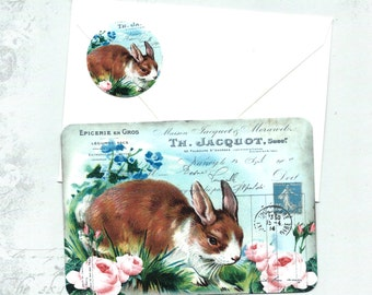 Note Cards, Rabbit Cards, Flat Cards, Vintage Rabbit, Postcard, Stickers