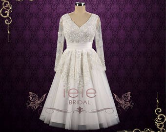 Retro Tea Length Lace Wedding Dress with Long Sleeves | Joycelyn