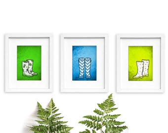 Welly Boots, yellow green blue, mudroom decor, foyer entryway, wellies, rain boots, wellie boots, wellington boots, welly boot print, art