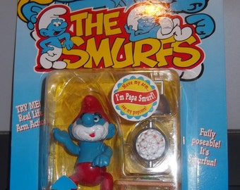 The Smurfs Papa Smurf Real Life Arm Action New on Card