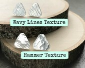 Sterling Silver Triangle Studs, Geometric Stud Earrings, Nickel Free Post Earrings, Everyday Silver Jewelry, Hammered or Embossed Studs