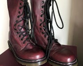 Vintage Dr. Martens Burgundy Cherry Bordeaux Ox Blood Boots in MINT Condition Tall Size 7