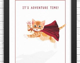 Funny cat art print. Illustrated cat art print. Cat wall art decor for nursery, adults, & children. Funny art print. Illustrated kitten art.