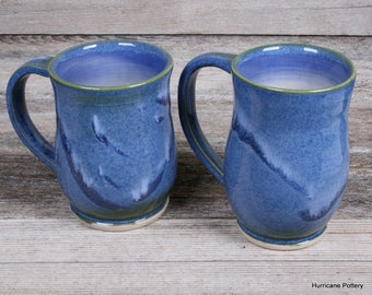 Blue Mugs. Hand Thrown Ceramic Mugs. Pair of Coffee Mugs. Handmade Ceramic Pottery Mugs. Stoneware Pottery Mugs.