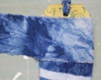 Blank Handmade Japanese Shibori Dyed Indigo Ribbon. Blank Indigo Ribbon. Hand Dyed. Hand Frayed Ribbon. Japanese Ribbon. Vintage Ribbon.