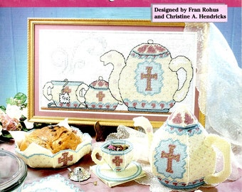 Serenity Tea Set Plastic Canvas Needlepoint Tea Pot Sugar Bowl Cup Saucer Coaster Bowl Gold Cross Embroidery Craft Pattern Leaflet 203019