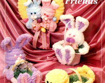 Loopy Friends Chenille Easter Bunny Rabbits Chicks Basket Wreath Learn How to Make Soft Sculpture Decorations Craft Pattern Leaflet LEF 100