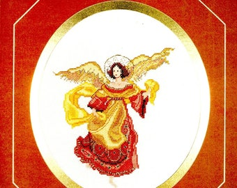 Florentine Angel Long Red Gown Gold Wings Halo Sash Counted Cross Stitch Embroidery Craft Pattern Leaflet BE-21