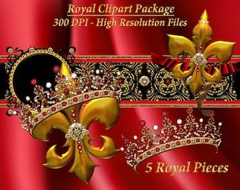 Royal Crown Fleur-di-lis Clip Art Package