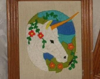 "Mid Century Hand Made Unicorn Crewel Embroidery Wood Frame  11 1/2"" x 9 1/4"""