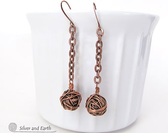 Copper Tumbleweed Earrings, Ball & Chain Earrings, Urban Edgy Modern Jewelry, Handmade Artisan Copper Jewelry, Edgy Earrings, Long Dangle