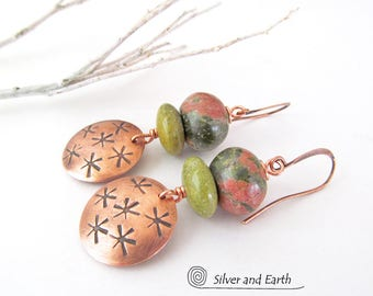 Unakite Earrings, Copper Dangle Earrings, Stamped Jewelry, Pink Green Stone Earrings, Spring Jewelry, Handmade Copper Jewelry, Gift for Her