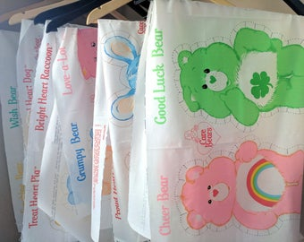 Care Bear 1983 or Care Bear Cousins 1985 Cut & Sew Fabric Panel with Two Pillows, Lots of Different Ones Available, Care Bear Stuffy, 17X45