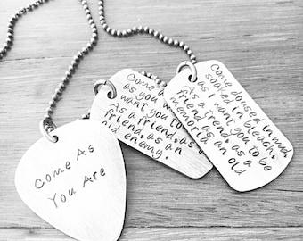 Lyrics Jewelry, Mens Necklace, Guitar Pick Necklace, Dog Tag Necklace, Hand Stamped Mens Necklace, Rustic Mens Necklace
