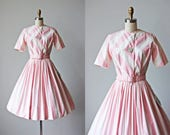 50s Dress - Vintage 1950s Dress - Pink White Designer Cotton Full Skirt Party Dress & Belt S M - Ice Cream Parlor Dress