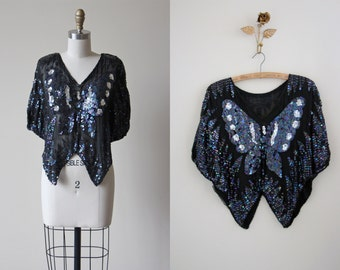 Vintage 80s Silk Butterfly Sequin Top - 1980s Black Silver Peacock Blue Novelty Blouse S M - Papillon Shirt
