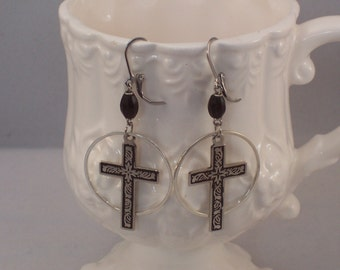 Rosary Bead and Cross in Circle assemblage earrings by ceeceedesigns on etsy