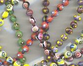 Millefiori Mosaic Beads , Venetian, Vintage 7-8mm circa 1970, B1452B*