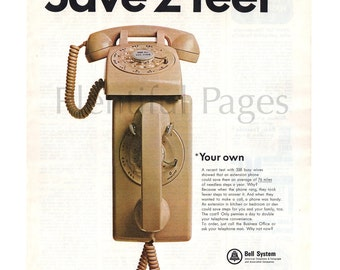 1966 Bell Telephone Vintage Ad, Bell System, 1960's Phone, Retro Phone, Advertising Art, Vintage Telephone, Great for Framing or Collage.