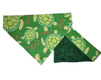 Green Turtles Dog Bandana - Fish Cat Bandana - Reversible Slide on Bandana - Nautical Pet Accessory