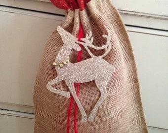 Christmas Gift Bag!  Burlap with Fabric bag inside & embellished with reindeer or jingle bells.