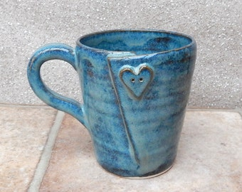 Coffee mug tea cup with a heart button wheel thrown in stoneware pottery ceramic handmade handthrown valentine