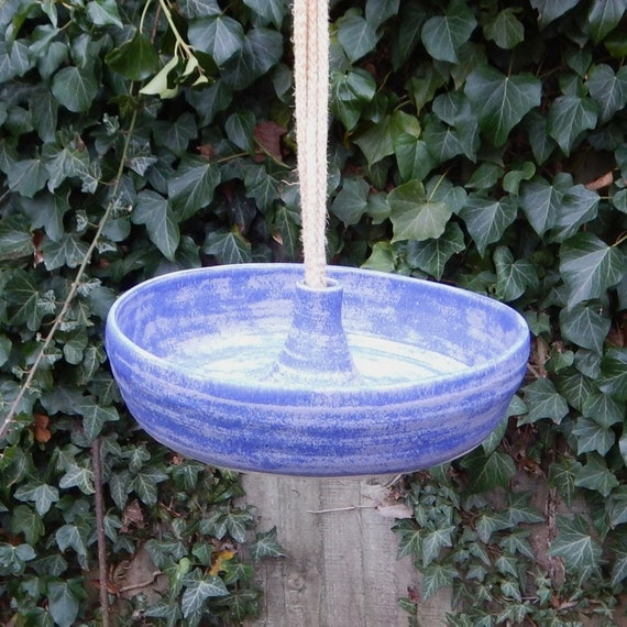 Bird feeder or bath in stoneware-- fully weatherproof pottery
