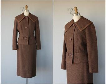 1950s Wool Skirt Suit | 50s Suit | 1950s Ladies Suit | Wool Boucle Suit