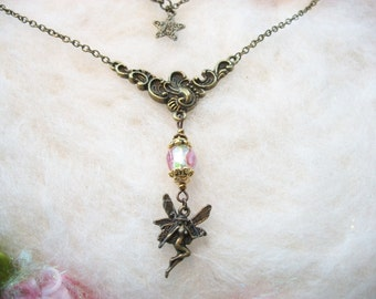 Fairy Necklace Bronze Filigree Fairy Pendant Vintage Fairy Necklace Retro Victorian Filigree Charm Butterfly Fairy Glass Head Fairy