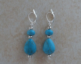 Turquoise Blue Magnesite and Silver Dangle Earrings