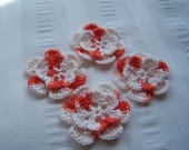 Appliques hand crocheted flowers embellishment set of 4 in tangerine white orange cotton 1.5 inch