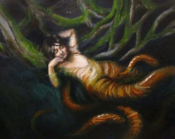 Octopus Woman's Daughter - original painting by Kellie Marian Hill