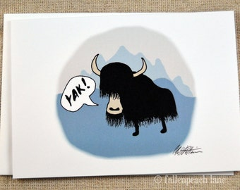 Yak Illustration Greeting Card - Yak!