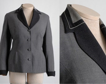 1940s vintage Edith Small Art Deco suit jacket * beautiful collar detail * SU067
