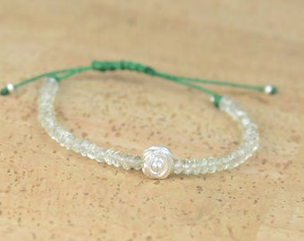 Aquamarine and sterling silver rose bracelet