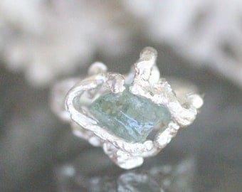 Raw Aquamarine Sterling Silver Ring, Gemstone Ring, Statement Ring, Eco Friendly, Recycled Sterling, Rough Gem (B) - Ship In The Next 9 Days
